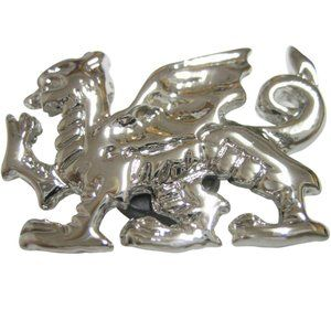 Glossy Silver Toned Textured Welsh Dragon  Magnet
